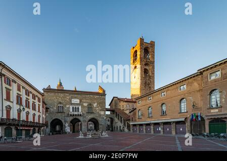 Panorama of Piazza Vecchia with the Contarini Fountain and in the background the Palazzo della Ragione and the bell tower called Campanone in Piazza V