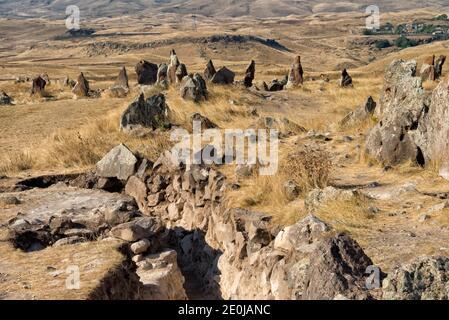 Armenian Stonehenge, Zorats Karer (also called Karahunj, Qarahunj or Carahunge and Carenish), a prehistoric archaeological site near Sisian, Syunik Pr
