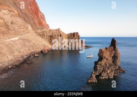 Natural Volcanic stone arch, Roque de Bonanza in El Hierro island, Canary Islands, Spain. High quality photo. Stock Photo