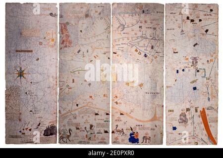 Catalan Atlas, Medieval world map created in 1375. Reproduction at House Museum of Columbus, Valladolid, Spain. Stock Photo