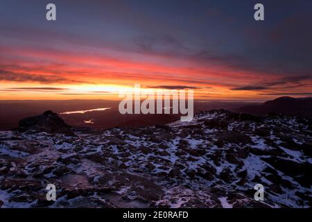 The view from Harrison Stickle at dawn in winter, English Lake District, UK