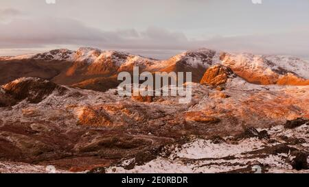 A view of Crinkle Crags and Bow Fell from the Langdale Pikes, Lake District, UK