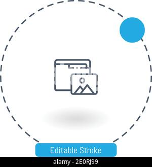 photos vector icon editable stroke outline icons for web and mobile - Stock Photo