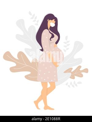 Motherhood. Happy pregnant woman in a medical mask stands and gently hugs her stomach with her hands. Decor from tropical plants and leaves. Vector