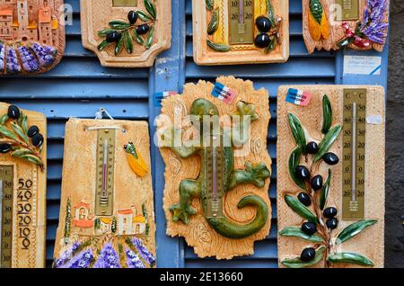 Kitsch Souvenir Thermometers with Provence Themes incl. Olives Lavender & Lizards or Geckos in Gift Shop or Stall Le Castellet Provence France