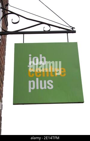 The Job Centre Plus sign hanging from a Job Centre in Dorset in the UK, taken on the 26th October 2020 - Stock Photo