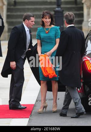 Britain's Prime Minister David Cameron and wife Samantha arriving at Westminster Abbey for the wedding of Prince William to Kate Middleton, in London, UK on April 29, 2011. Photo by Frederic Nebinger/ABACAPRESS.COM Stock Photo