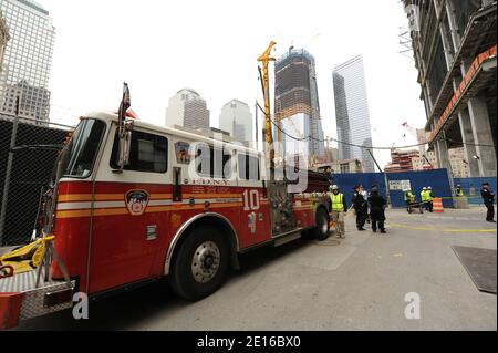 NYFD Ladder 10 Fire Truck parked outside the Ground Zero construction site during the press conference to discuss the death of Osama bin Laden and the continued construction of the 911 Memorial and Freedom Tower, held at World Trade 4 construction site at ground zero in New York on May 02, 2011. Photo by Graylock/ABACAPRESS.COM