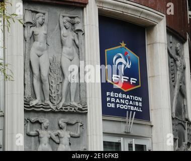 Picture shows the logo of the French Football Federation (FFF) at the headquarters' entrance. Two separate investigations opened on May, 2 into reports of a controversial alleged plan to introduce quotas for dual-nationality players in the France national football team in Paris, France on May 8, 2011. Photo by Alain Apaydin/ABACAPRESS.COM - Stock Photo