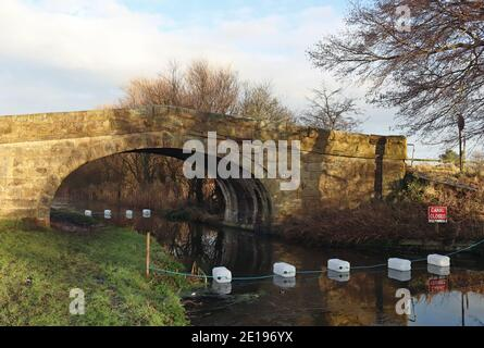 Whinnyfield Bridge, a farmer's access stone bridge over the Lancaster canal has suffered damage in a vehicle strike, canal is closed to navigation.