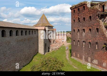 People in the fortress Oreshek near St. Petersburg, Russia. Founded in 1323, strong damaged in WWII, the fortress is listed as UNESCO World Heritage