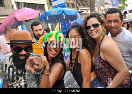 Rio de Janeiro, Brazil - March 5, 2017: Happy Brazilian people celebrate carnival at street block called Monobloco, which is one of the biggest. - Stock Photo