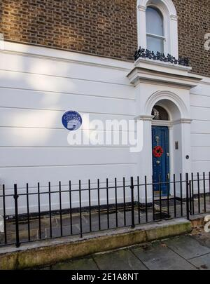 Greater London Council Blue Plaque for George Gissing, writer, in 33 Oakley Gardens, SW3 5NZ; he lived there 1882-1884