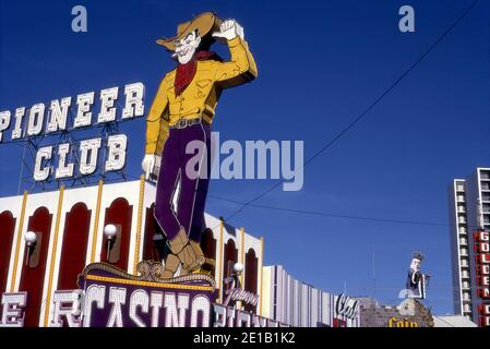 Neon cowboy sign at the Pioneer Club Casino on Fremont Street in Las Vegas, Nevada circa 1970s
