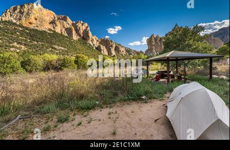 Campsite, rhyolite cliffs over Sunny Flat Campground in Cave Creek Canyon, riparian zone habitat in Chiricahua Mountains, Arizona, USA