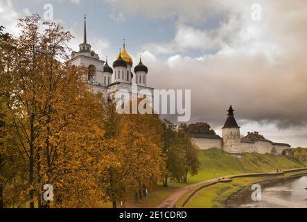 Trinity cathedral at Krom (Kremlin) and embankment of Pskova river in Pskov. Russia