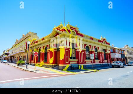 Fremantle, Western Australia - Jan 2, 2018: historical building situated on corner of High and Adelaide Streets and is part of optical illusion