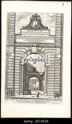 Lost portal to Ospedale di Santo Spirito in Via della Lungara (Rome) by Giovanni Battista Falda (1665).
