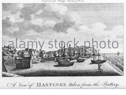 View of Hastings taken from the Battery, England, vintage illustration from 1804