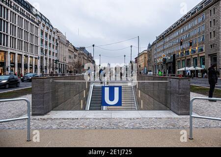 New Unter den Linden U-bahn underground station serves the U5 & U6 lines Mitte-Berlin,Germany
