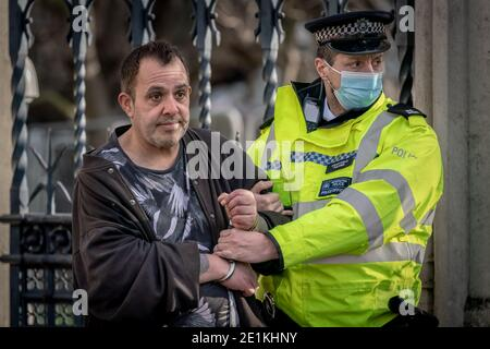 Coronavirus: Arrests are made during an attempted anti-lockdown demonstration in Parliament Square, London against the current lock-down restrictions.