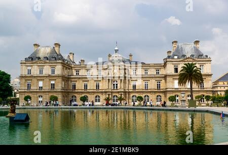 Paris, France - May 24, 2018 : Luxembourg Palace and park in Paris, the Jardin du Luxembourg, one of the most beautiful gardens in Paris. France.