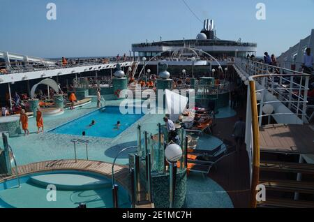 large ship on a cruise with outherdeck and wellness