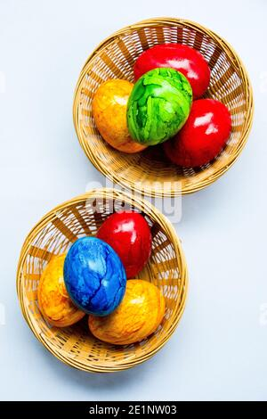 eggs colored in joyful colors originaly tradition for easter