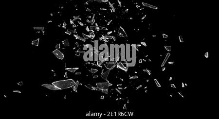 Broken glass window. Texture of broken glass. Isolated realistic cracked glass effect. Template for design. Black and white 3D illustration