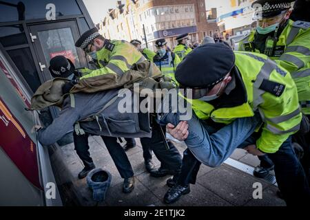 Coronavirus: Arrests are made during an attempted anti-lockdown gathering in Clapham Common against the current government COVID19 restrictions, UK.