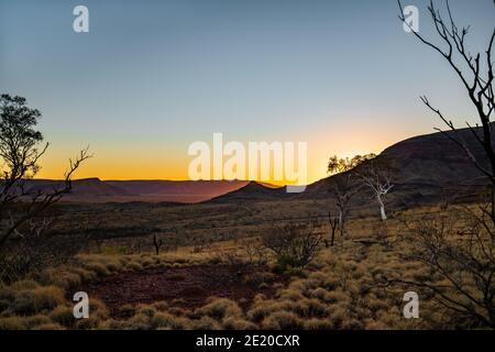 Sunrise behind Mount Bruce, Karijini National Park, Western Australia