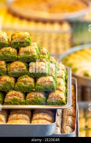 Assorted Flavors of  Turkish baklava with pistachio and other Turkish sweets, Istanbul Province. Istanbul, Turkey