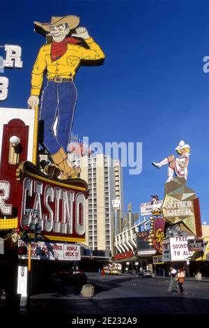 Colorful signs and casinos on Fremont Street in Downtown Las Vegas, Nevada
