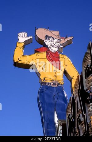 Iconic Cowboy neon sign on Fremont Street in Downtown Las Vegas, Nevada