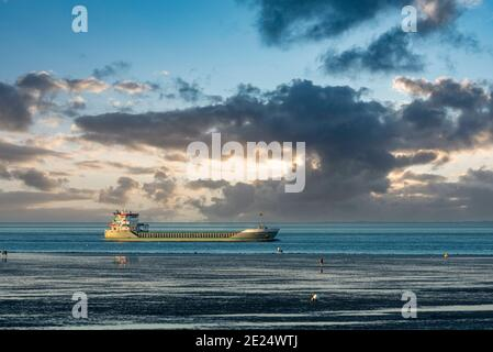 View over the Wadden Sea to the world shipping route Elbe, Cuxhaven, Lower Saxony, Germany, Europe