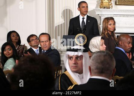 U.S. President Barack Obama pauses as he acknowledges Muslim 9/11 families during an Iftar dinner in the State Dining Room of the White House in Washington, D.C., USA on August 10, 2011. President Obama was joined by elected officials, religious and grassroots leaders in the Muslim American community, and leaders of diverse faiths to celebrate Ramadan, a tradition that began annually under President Bill Clinton and was continued by President George W. Bush. Photo by Alex Wong/Pool/ABACAPRESS.COM