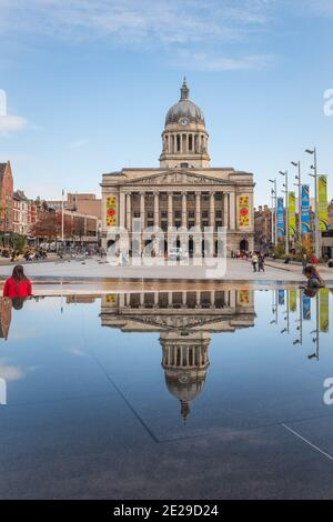 The imposing Nottingham Council House stands high above Nottingham's city centre acting as a backdrop to Nottingham's Old Market Square.