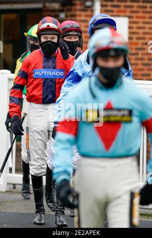 A general view as jockeys leave the weighing room at Plumpton Racecourse.