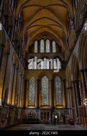 General view down the nave in Salisbury Cathedral, (Cathedral Church of the Blessed Virgin Mary), an Anglican cathedral in Salisbury, Wiltshire, UK.