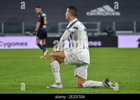 Turin, Italy. 14th Jan, 2021. Turin. Italian Cup Tim 2020/2021 League match. Juventus Vs Genoa. Allianz Stadium In the photo: Cristiano Ronaldo Credit: Independent Photo Agency/Alamy Live News - Stock Photo