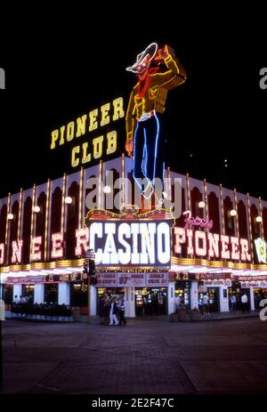 Vintage neon cowboy sign at the Pioneer Club Casino on Fremont Street in Las Vegas, Nevada