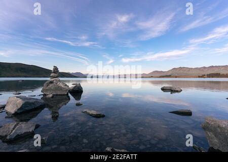 Peaceful landscape of Lake Tekapo in the South Island of New Zealand. Canterbury Region