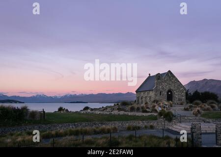 Historic Church of the Good Shepherd with amazing sunset landscape. Lake Tekapo, New Zealand.