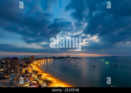 Evening landscape of Pattaya beach and sea, Chon Buri, ThailandPattaya, Chon Buri, Thailand