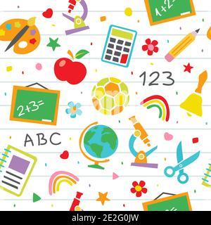 School seamless pattern Childish school vector background in flat style - Stock Photo