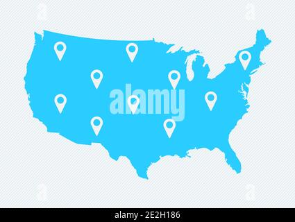 Usa map with map icons. United states of america map