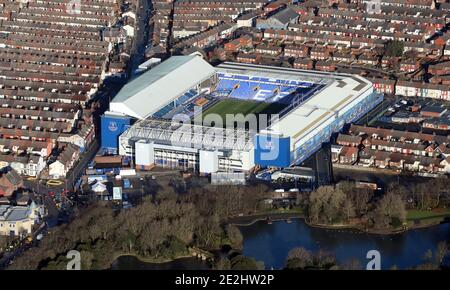 aerial view of Everton FC Goodsion Park stadium football ground in Liverpool - Stock Photo