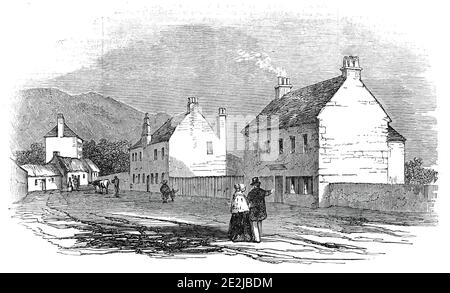 """House at Duddingstone, where the Pretender slept on the night before the Battle of Prestonpans, 1845. In 1745, '...a band of about 2400 ill clad, worse armed, and half civilised Highlanders moved from Duddingstone, near Edinburgh, under the command of Prince Charles Edward Stuart, to meet about the same number of """"regulars,"""" horse and foot...commanded by Sir John Cope. Having marched about eight miles in a south-easterly direction, they halted between the villages of Tranent and Prestonpans, on the shores of the Firth of Forth...The house belonged to Colonel Gardiner, who led the tro - Stock Photo"""