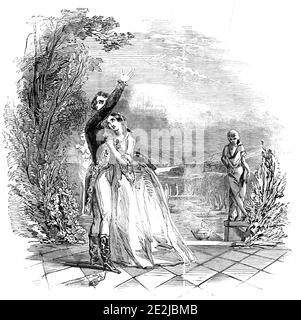 """Scene from """"The Lady of Lyons"""" at the Haymarket Theatre, 1845. London stage production of """"The Lady of Lyons; or, Love and Pride"""", a romantic melodrama written in 1838 by Edward Bulwer-Lytton, 1st Baron Lytton. '...the First Scene of the Second Act...Claude Melnotte (Mr. Anderson), pretending to be the Prince of Como, is speaking to Pauline (Miss Helen Fawcit) of his imaginary Palace...'. From """"Illustrated London News"""", 1845, Vol VII. - Stock Photo"""