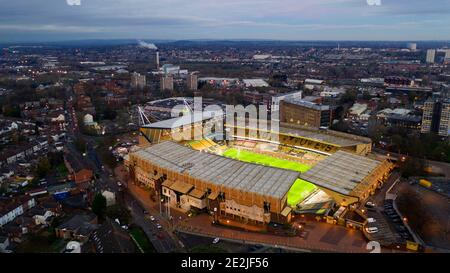 An aerial view of  Molineux the home stadium of Wolverhampton Wanderers Stock Photo